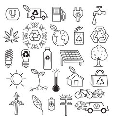 ecology recycle doodle icons vector image vector image