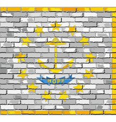Flag of rhode island on a brick wall vector
