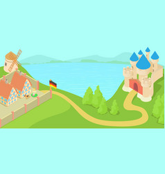 Germany landscape concept cartoon style vector