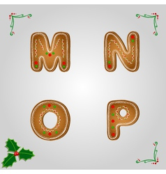 Gingerbread font m to p vector image