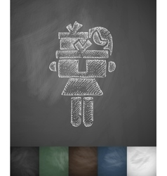 Girl with gifts icon hand drawn vector