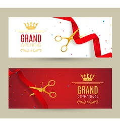 Grand opening invitation banner red ribbon cut vector