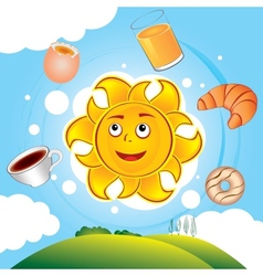 happy cartoon sun cooked breakfast vector image vector image