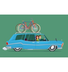 Happy family riding in a blue car bicycle trip vector