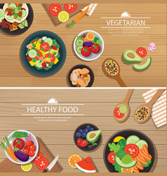 Healthy organic vegetarian on a wooden background vector