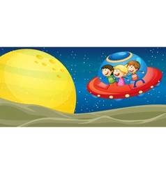 kids and flying saucers vector image vector image