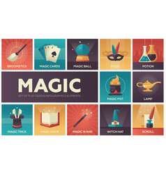 Magic - modern flat design icons set vector