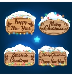 New year and christmas wooden boards vector
