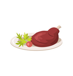 plate with meat and vegetables vector image vector image