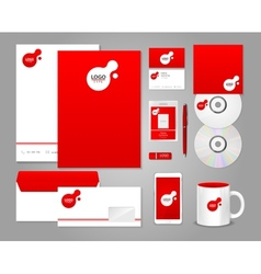 Red corporate identity template vector