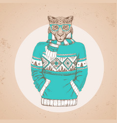 Retro hipster animal cheetah dressed in pullover vector