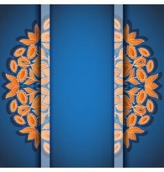 Round floral orange blue invitation card vector