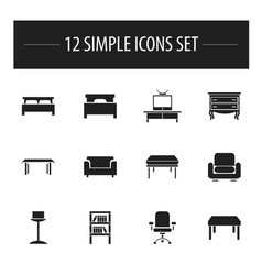 Set of 12 editable furnishings icons includes vector