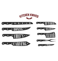 set of kitchen knives butcher knives on white vector image