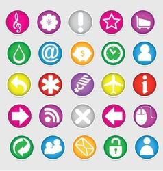 shiny colored web social symbols set vector image