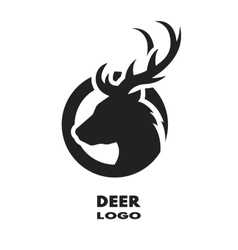 Silhouette of the deer monochrome logo vector image vector image