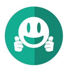smiling thumbs emoticon style shadow vector image