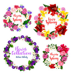 Spring flower wreath and floral frame border vector