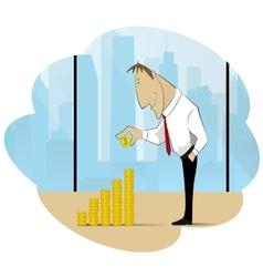 Successfull businessman and his treasure vector image vector image