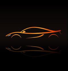 Supercar orange outline elegant sign vector