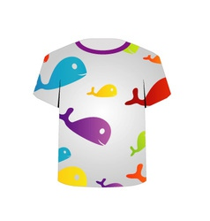 T Shirt Template- colorful fishes vector image