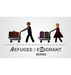 The man and woman move with luggage on the cart vector