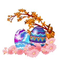 Two easter eggs hidden in the garden vector image