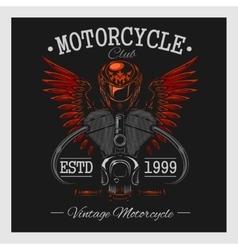 Vintage motorcycle print Monochrome on dark vector image
