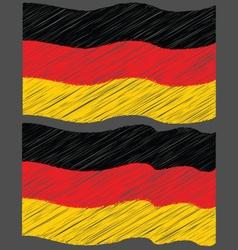 Waving hand draw sketch flag of german vector
