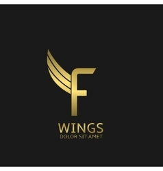 Wings F letter logo vector image