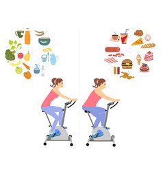 Woman diet concept set vector
