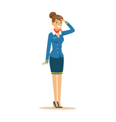 Young smiling stewardess in blue uniform vector