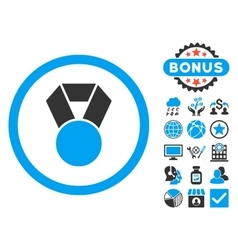 Achievement medal flat icon with bonus vector