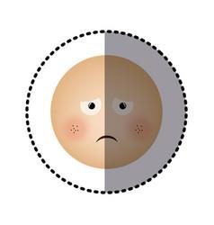 Sticker human face emoticon sad expression vector