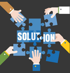 business hands and jigsaw vector image