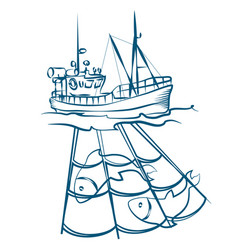 Fishing boat with nets vector