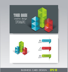 Business card design bright cubes composition vector