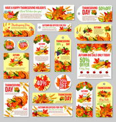 Thanksgiving sale tag for discount offer design vector