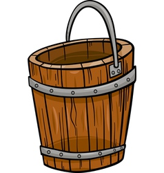 Wooden bucket retro cartoon clip art vector