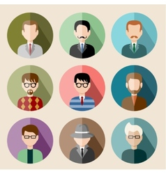 Set of circle flat icons with man vector