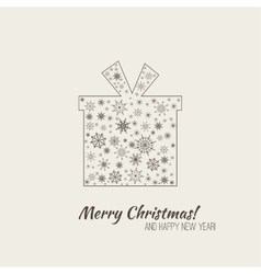 Gift with shadow with snowflakes vector image