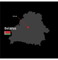Detailed map of belarus and capital city minsk vector