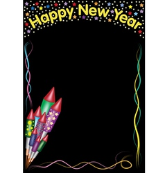 Happy new year rockets and lines vector