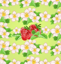 Seamless texture of strawberries with flowers vector