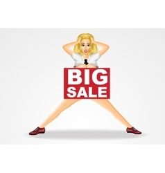 Nude business woman big sale banner vector