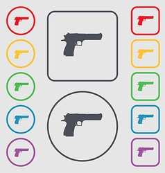 Gun icon sign symbol on the round and square vector