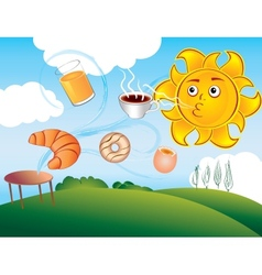 Cartoon sun delights cooked breakfast vector