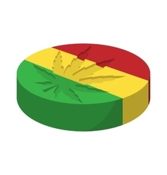 Marijuana leaf with rastafarian colors icon vector