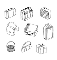 Suitcases on white background vector