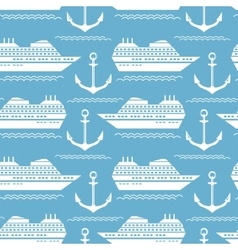 Seamless nautical pattern with ships and anchors vector